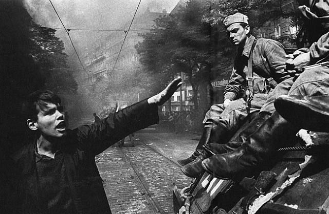 'photographer Josef Koudelka's shots of Prague in the summer of '68. These images, capturing a cultured, civil uprising being put down by the Red Army caused huge numbers of left-wing sympathisers to lose faith in the Soviet system. A new exhibition of Koudelka's Prague photos has opened in Bucharest, Romania' https://www.facebook.com/events/454139208033814/