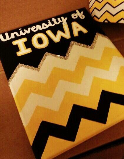 Chevron dorm decor. University of Iowa