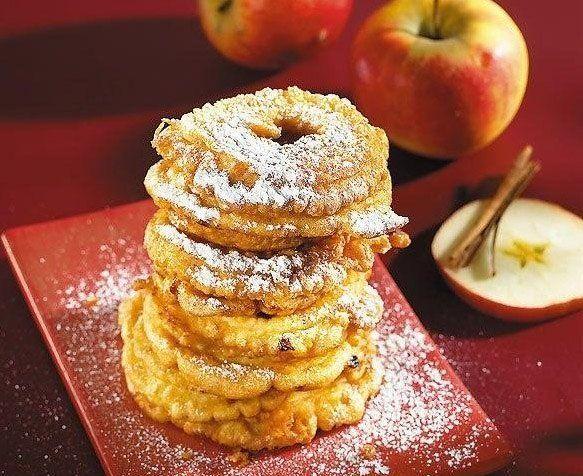 Яблочные кольца с изюмом и орехами