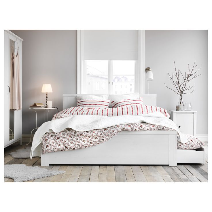 IKEA BRUSALI Bed frame with 4 storage boxes White/luröy Standard Double The 4 large drawers on castors give you an extra storage space under the bed.