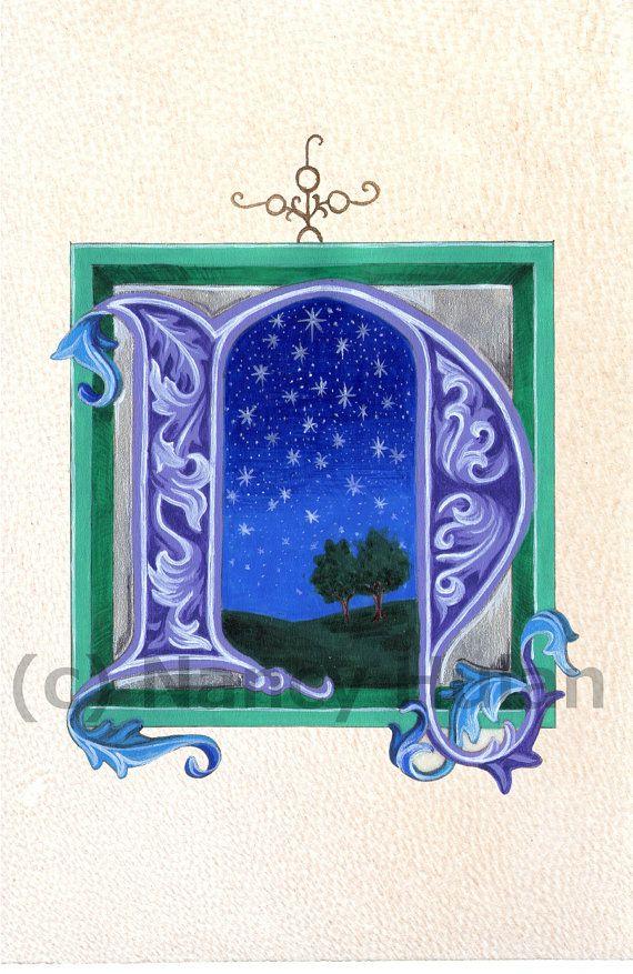 Alphabet lettre N, lettre N, peint N Initial, médiévale peint lettre N, Art Print N