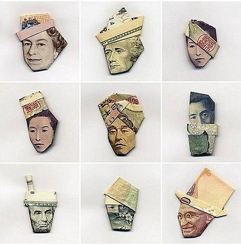 money origamiHats, Money Origami, Paper Art, Dollar Crafts, Funny, Gift Cards, Money Art, Things, Portraits