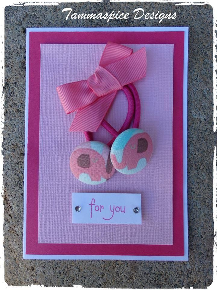 Handmade by Tammaspice Designs Pink elephant (28mm) Button Elastics on Pink & White Greeting Card Blank inside. White envelope included and in a cello bag for protection.