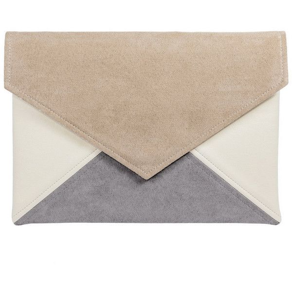 Clutch bag envelope Letter beige gray ivory vegan faux leather... ($33) ❤ liked on Polyvore featuring bags, handbags, clutches, vegan purses, evening purses, beige purse, grey purse and special occasion clutches