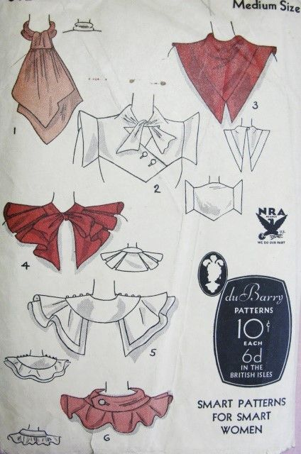 1930s Art Deco Collars Pattern DuBarry 812B Striking Designs For Daytime or Evening Glamour Styles 6 Unique Collars Medium Size NRA Vintage Sewing Pattern