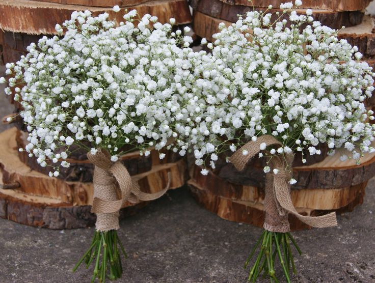 Florissimo, Shropshire - Flowers for weddings, events and businesses. Hand-tied bridesmaids' bouquets of gypsophila tied with rustic hessian. At Pimhill Barn.