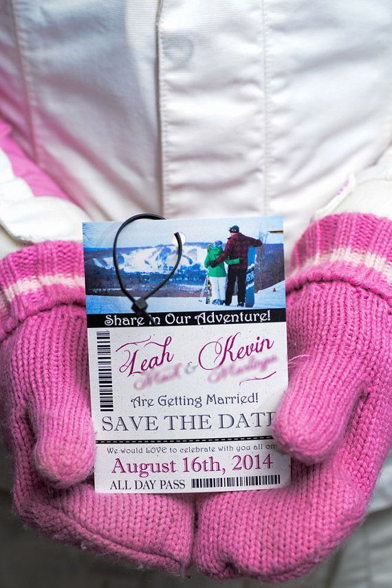 Ski Pass / lift ticket wedding invitations  by EmpireInvites
