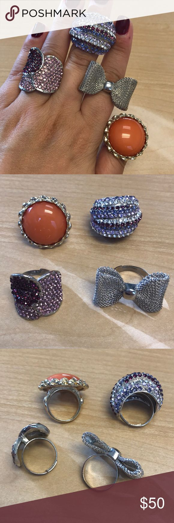 Costume jewelry rings 4 beautiful costume jewelry rings. 3 are adjustable. I am usually a size 7/8. Sold as is. One of the rings has 3 stones missing but it is really not noticeable. All 4 priced together. Jewelry Rings