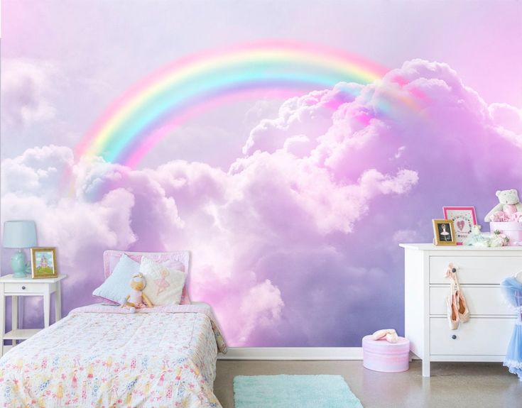 rainbow wall mural. Photo wallpapers of toe sky. Skyline
