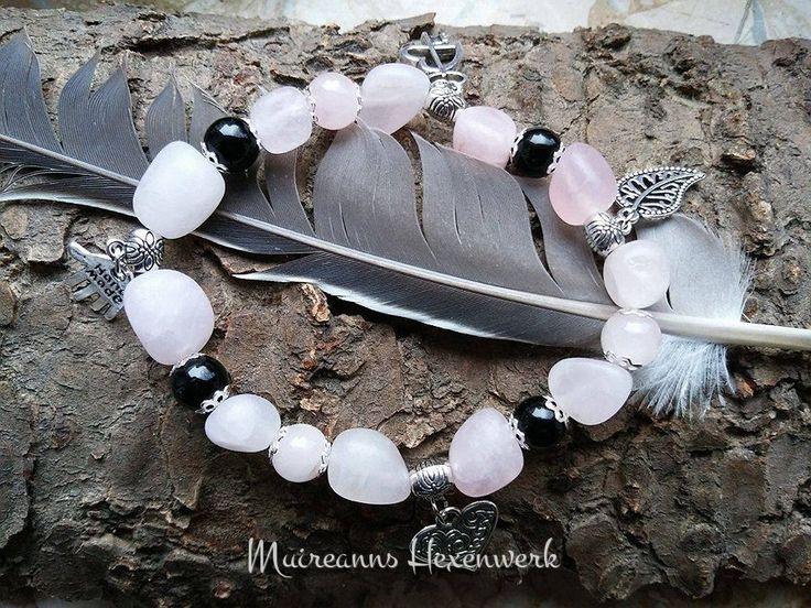 Edelsteinarmband aus Rosenquarz-Barock- und runden Onyxperlen, passend für Handgelenke von ca. 17 - 19 cm