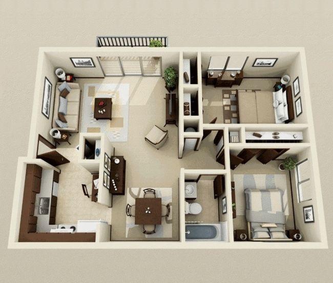 50 Plans 3D d'appartement avec 2 chambresAmenagementDesign.com |