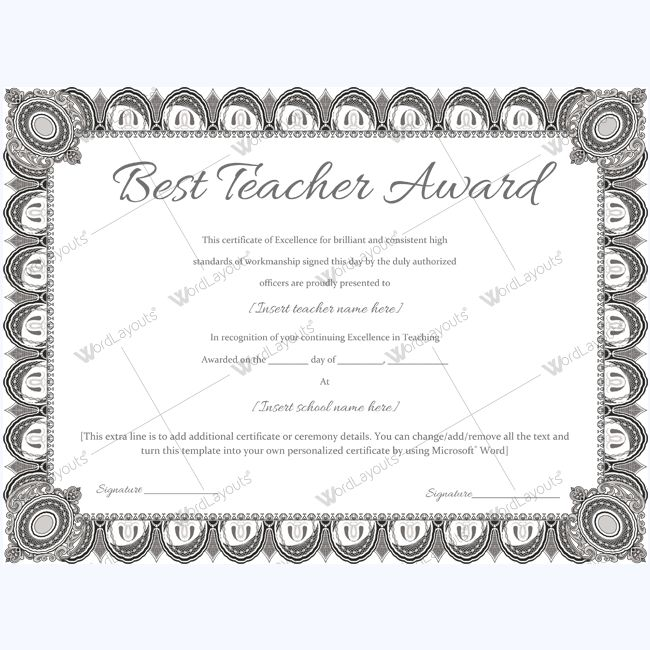 14 best Best Teacher Award Certificate Templates images on - Award Certificate Template Word