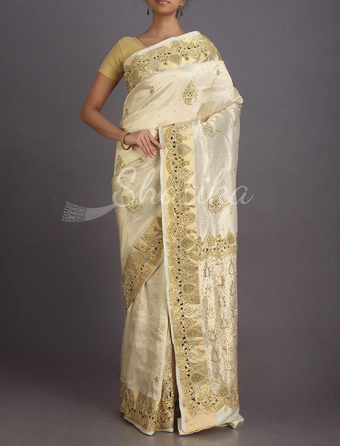 Meenakshi Moon White With Golden Work Kanchipuram Hand-Work Silk Saree