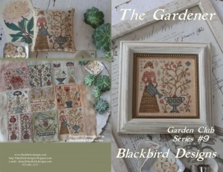 The Gardener is the title of this cross stitch pattern from Blackbird Designs 'Garden Club Series' that is the ninth release. The cross stitch design is stitched with Gentle Art Sampler threads (Aged Pewter, Antique Rose, Apple Cider, Apricot Blush, Burlap, Endive, Grasshopper, Heirloom Gold, Linen, Old Red Paint (or DMC 221), Terra Cotta, Tin Bucket, Toasted Barley and Wheat Fields. DMC equivalents are provided with the design