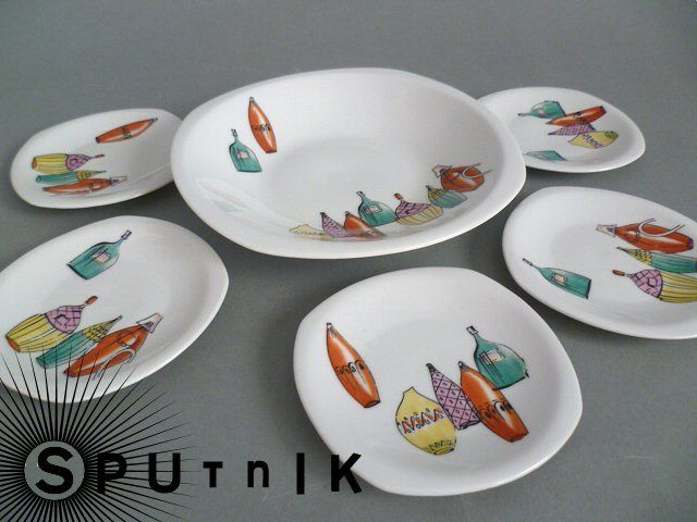Niedliche Anbietschälchen mit 50er Jahre Dekor von Sputnik auf DaWanda.com