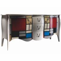 Buffet Mondrian design baroque en bois laqué | Mobilier de designer Lola Glamour