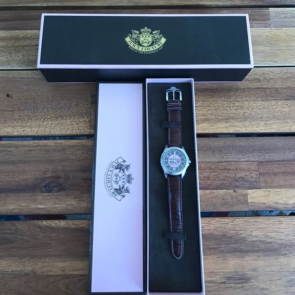 Authentic Juicy Couture Watch Juicy Couture Watch still in original box // worn once in perfect condition // does need a battery // brown leather band Juicy Couture Accessories Watches