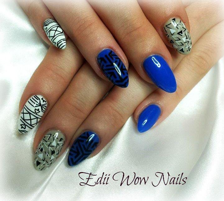 gel nails, stamps, royal blue