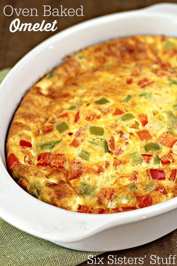 Oven Baked Omelet Recipe on SixSistersStuff.com - mix ingredients together, pour in a pan, and bake! Easiest breakfast ever.
