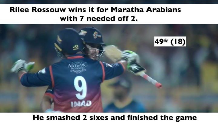 Maratha Arabians beat TeamSri Lankan Cricket by 5 wickets in a nail-biting finish.  #T10League #BasAbDus - http://ift.tt/1ZZ3e4d