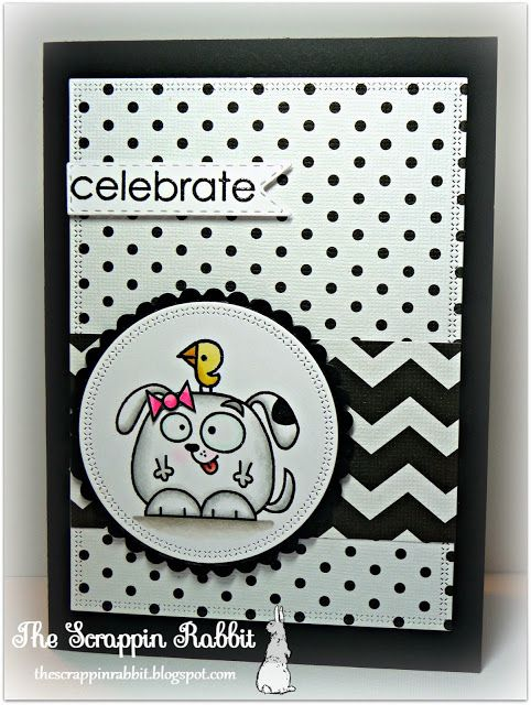 Paper Smooches, Black and White card, Chubby Chums, The Scrappin Rabbit