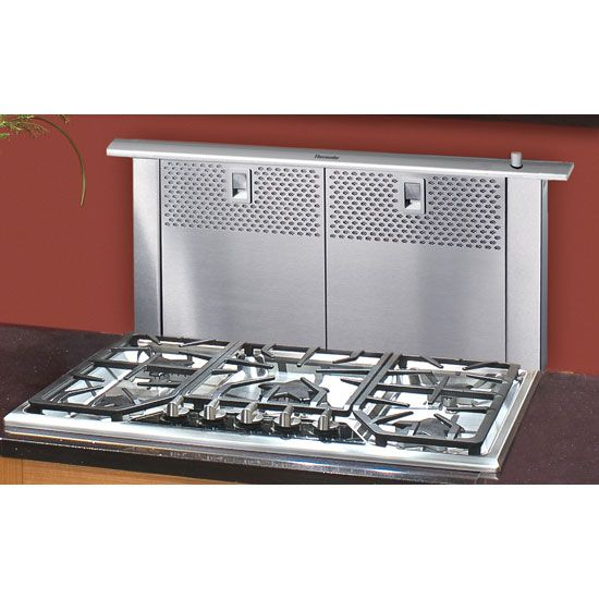 Full 14 rise downdraft vent for island cooktop for Kitchen range with downdraft ventilation