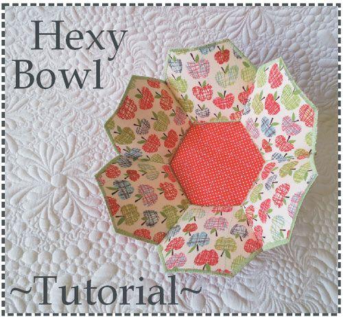 fabric bowl tutorial, hexagon bowl tutorial