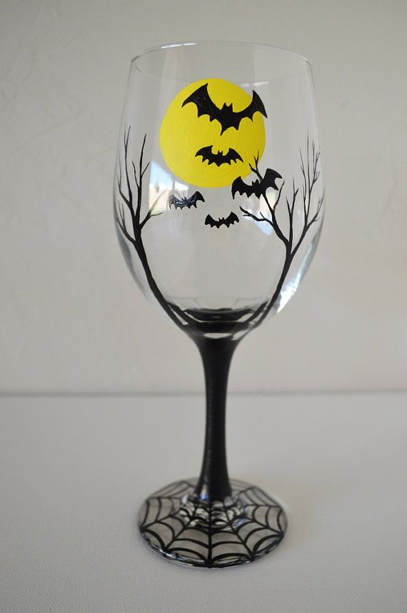 Halloween wine glass batty moon hand painted large white for Large white wine glasses