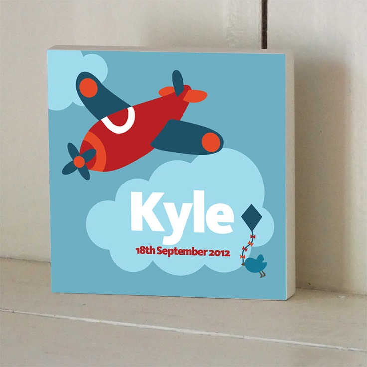Aeroplane Personalized Wooden Name Plaque. $20.00, via Etsy.