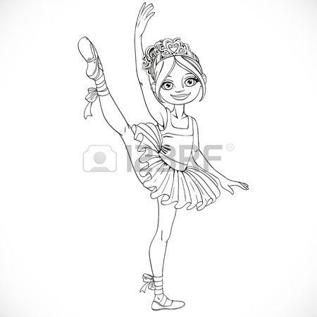 Ballerina ragazza che balla in tutu di balletto su una gamba delineato isolato su uno sfondo bianco