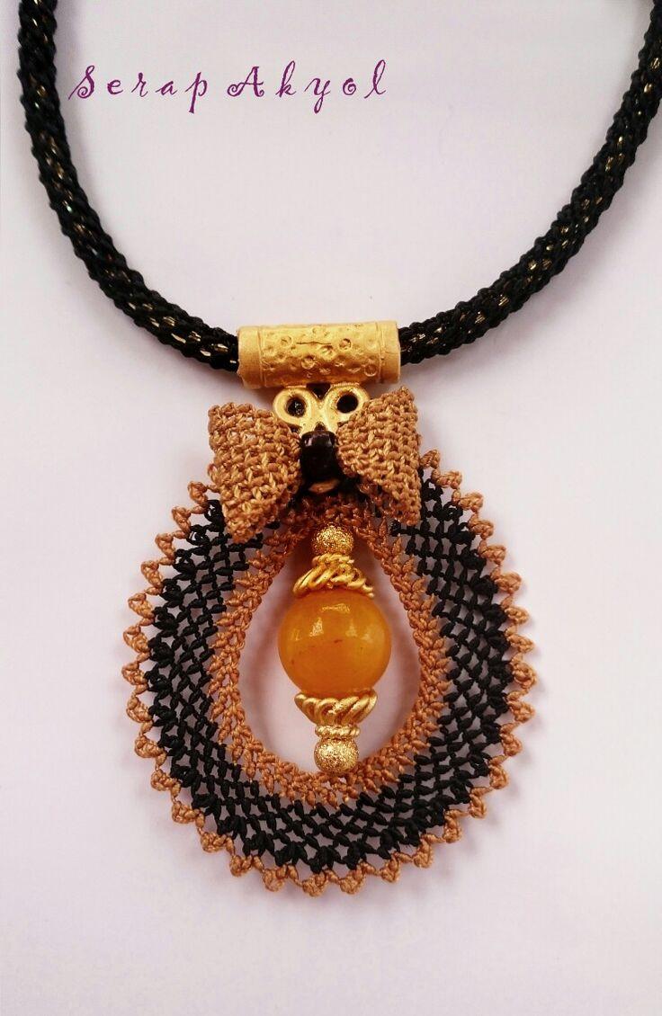 #takı#kolye #takıtasarım#needlelace #Akik kolye#iğne oyaları #necklace