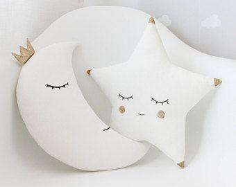 Set Of White Moon Pillow and White Star Pillow, Christmas Pillows, Gold Pillows, Baby Pillow Set, Kids Pillows, Gold Nursery Decor