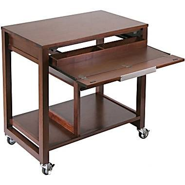 Winsome Composite Wood Computer Desk With Casters, Antique Walnut   Staples