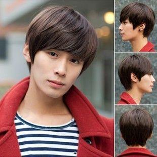 Fashion Men's Short Hair Real Wig,Dark Brown,Light Brown,Black Available,