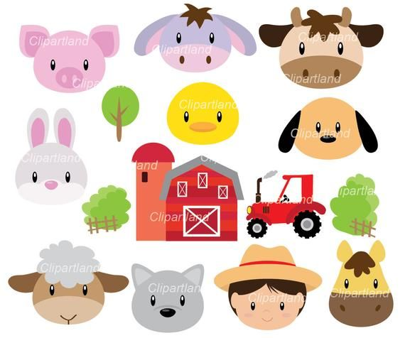 On Sale Instant Download Farm Animal Face Clip Art Farm Etsy In 2021 Clip Art Etsy Banner Animals For Kids