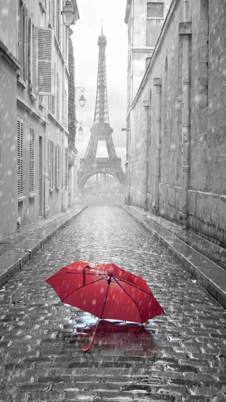 Red Umbrella Paris Street Rainy Day Eiffel Tower #iPhone #6 #plus #wallpaper