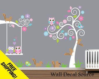 Réutilisable mural vinyle - pépinière Wall Decal avec écureuils, hiboux, oiseaux - Sticker vinyle - bébé - Nursery