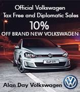 Alan Day offers members of the Armed Forces 10% discount on  new Volkswagens.