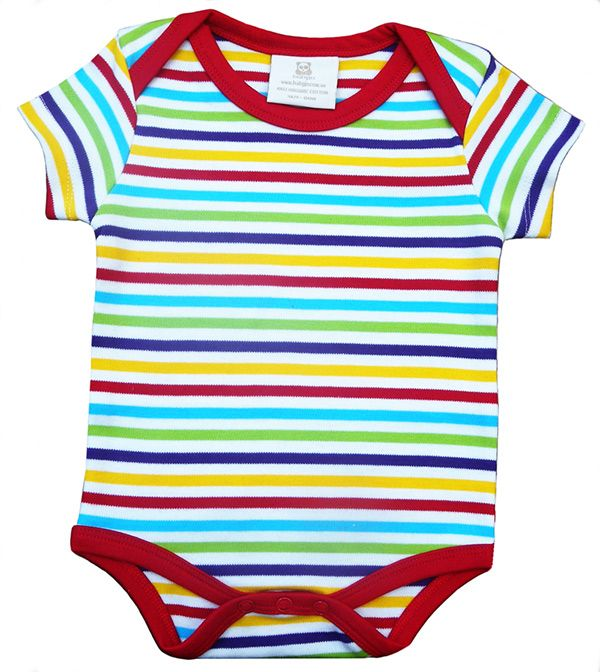 Sizes 000, 00, 0, 1 - Made of 100% organic cotton, the BabyJo Tropical Reef Stripes romper is bright, soft and luxurious. This high thread count romper captures the stunning, rainbow-bright tropical reef colours. Please message size when ordering.