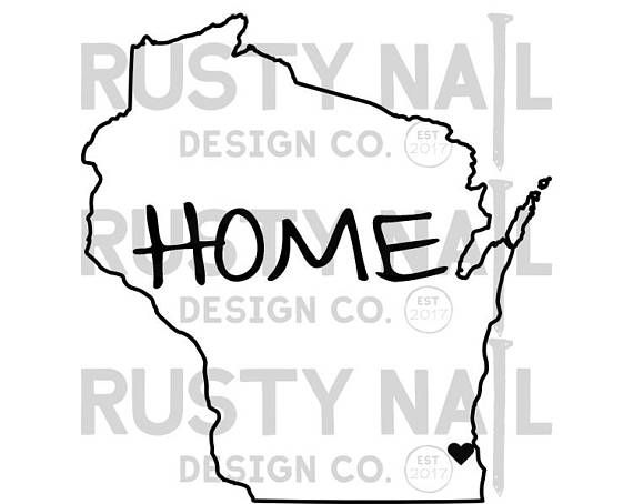 Wisconsin home decal for car white vinyl