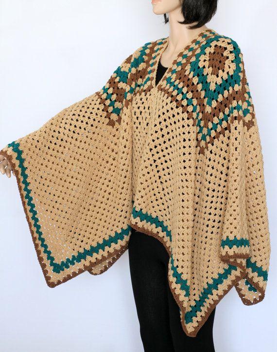 PDF de Poncho indio patrón rústico Poncho suéter Extra grande poncho patrón PDF…