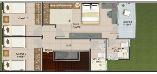 Planta arquitectónica para casa de 2 pisos