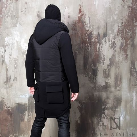 Outerwear - Padding mixed neoprene detachable hood black parka - 29 for only 138.00 !!!