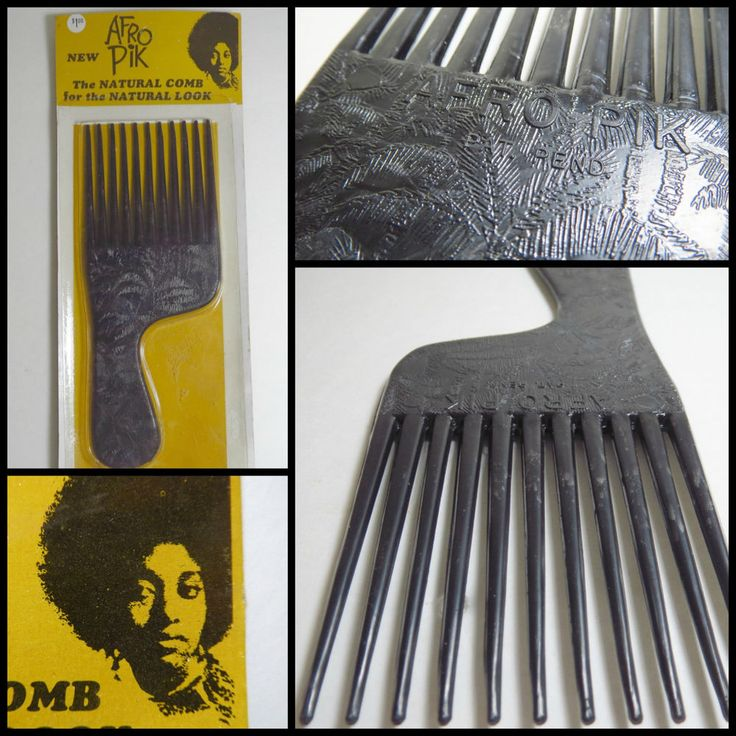 VTG 1970s Retro Groovy NOS Afro Pik Hair Pick Comb Plastic Black Power Peace   #Disco