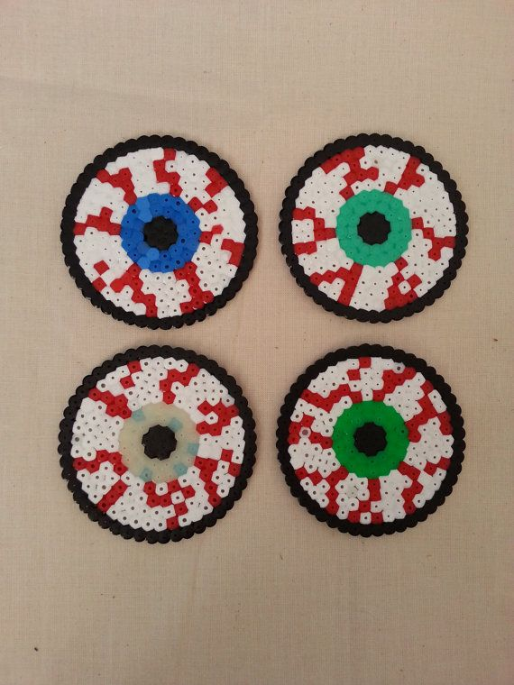 Halloween creepy bloodshot eye coasters hama perler beads by KimsHandmadeCave