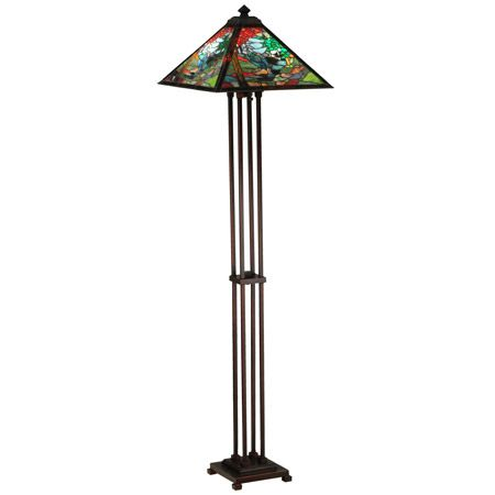 26 best craftsman style floor lamps images on pinterest artesanato beautiful stained glass landscape on this craftsman floor lamp aloadofball Images