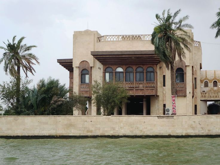 Saddam Hussein's former palace faces the Shatt Al Arab River just south of Basra, Iraq. After the 2003 war the palace was occupied by British troops and then looted by the locals when the Brits left.