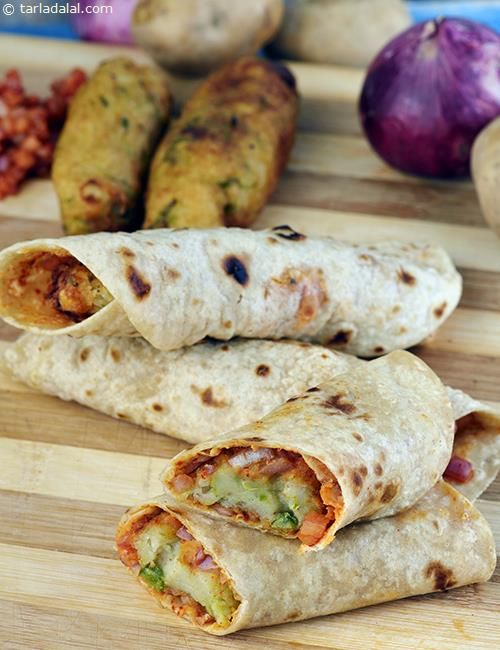 Spicy Potato and Roti Roll recipe | Indian Tava Recipes | by Tarla Dalal | Tarladalal.com | #168