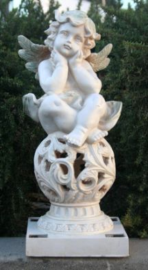 The cute little enchanting angel setting on top of a ball that houses the solar light will keep watch over your garden during the day and at night it will shine adding a decorative glow in your garden. http://www.mysolarshop.com/cherub-solar-light-statue-46w43