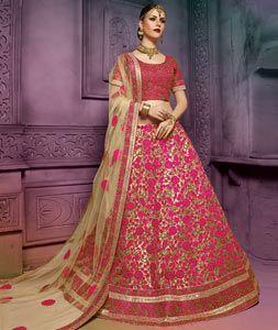 Buy Pink Art Silk Bridal Lehenga Choli 77757 online at best price from vast collection of Lehenga Choli and Chaniya Choli at Indianclothstore.com.